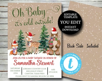 Woodland Christmas Baby Shower Invitation, Editable Invite Template winter invitation YOU EDIT, Printable Invitation, Instant Download 037