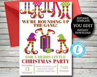 Elf Feet Christmas Holiday Party Invitation, EditableTemplate, Rounding up the gang office party, YOU EDIT Instant Printable Invite, 036