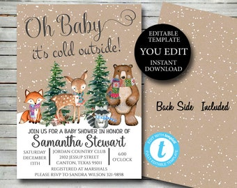 Woodland Winter Baby Shower Invitation, Editable Invite Template winter invitation woodland animals Printable Invite Instant Download 038