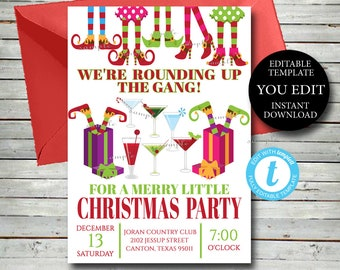 Elf Christmas Party Invitation, EditableTemplate, Rounding up the gang office Holiday invitation, YOU EDIT Instant Printable Invite, 034