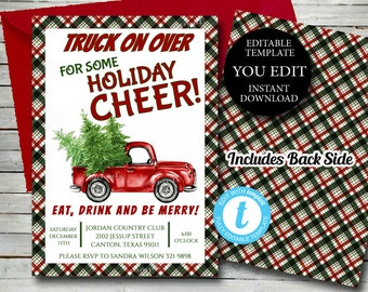 Christmas Party Invitation, Red Truck Christmas Party Invitation, Editable Template Holiday Cheer invitation Printable Instant Download 021