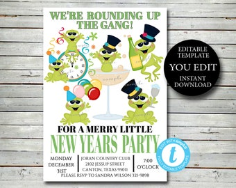 New Years Party Invitation, Editable Invite Template FUN Adult New Years Eve invitation YOU EDIT  Printable Invitation, Instant Download 020
