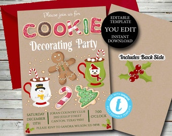 Cookie Decorating Party Invitation, Christmas Cookies, Christmas invitation Holiday Cookie party invite, Editable Template Printable  031