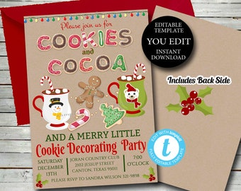 Cookies & Cocoa Invitation, Christmas Cookies Invitation, Holiday Cookie Decorating party, Editable Template Printable Instant Download 023