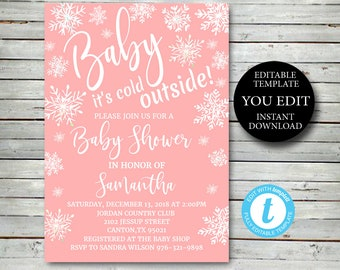 Pink snowflake Baby Shower Invitation Editable Printable, girl winter invite, Baby its cold outside Invitation YOU EDIT Instant Download 029