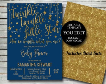Twinkle Star Baby Shower Invitation Template, Editable Invite Printable Gold glitter, Boy or Girl YOU EDIT Instant Download 032