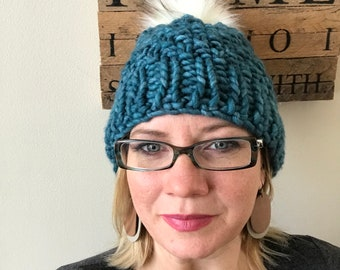 Aqua blue malabrigo knit hat with faux pom f3e784758004