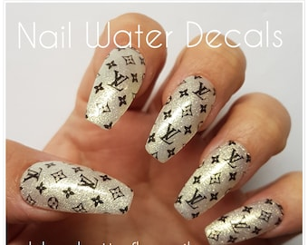 53f8bb818 1133 - Designer Inspired Black and White Logo Pattern Nail Water Decal  Stickers Slider Transfer Tattoo flower Nail Wraps Designer nails