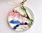 Unique 3D Japanese scenery necklace, Sakura cherry blossom bamboo Mt.Fuji Koi fish pendant, Impressive miniature world gift,