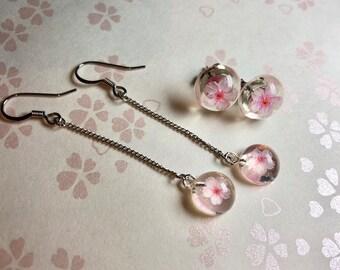 b21915806 One Sakura cherry flower stud/dangling earrings, Exotic Japanese style  Starling silver earrings, Antiallergic stud/dangling hook earrings