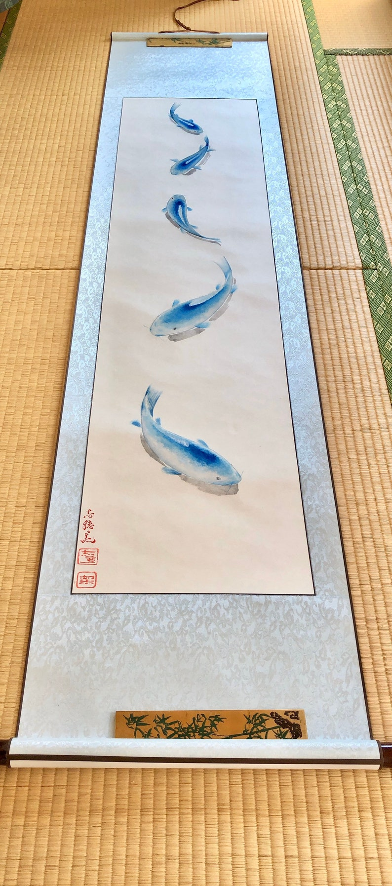 Mysterious BLUE KOI extra large hanging scroll Unique extra image 0