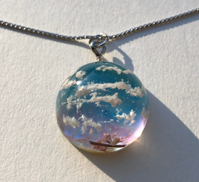 Amazing 3D crystal dome Japanese Spring evening sky necklace image 0