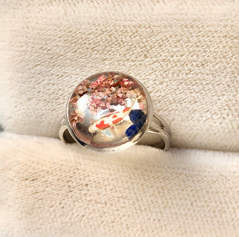 Impressive gift for her Amazing miniature Koi fish with 3D Sakura cherry blossoms ring Lucky power stone  ring Unique Japanese style ring
