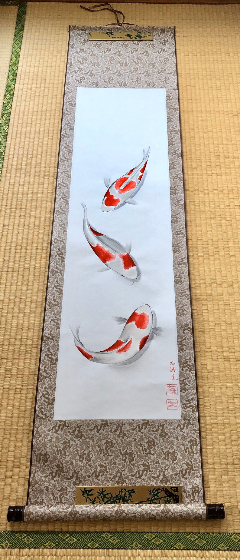 Extra large hanging scroll of NISHIKI GOI koi fish art/ image 0