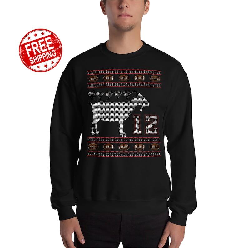 78145c64d70 Tom Brady Goat Ugly Christmas Sweater New England Patriots