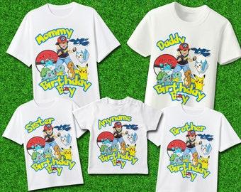 5124ea42 Pokemon Set Family Names Iron On Transfer/ Pokemon Set Birthday Shirt/  Personalize Family Set/ DIGITAL FILES