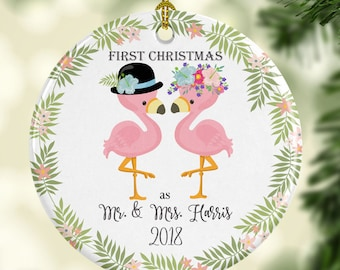 Newlywed Ornament Personalized for Christmas - Mr. and Mrs. Flamingo