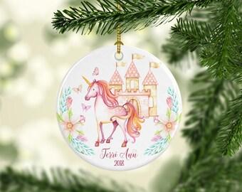 Castle Unicorn Ornament Personalized