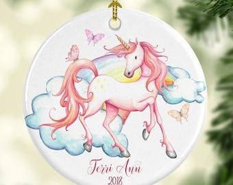 Prancing Unicorn Ornament Personalized