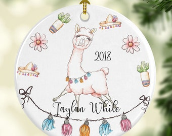 llama ornament for christmas personalized with name and year