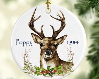 Memorial Ornament for Christmas - Deer Ornament - Custom Name and Year