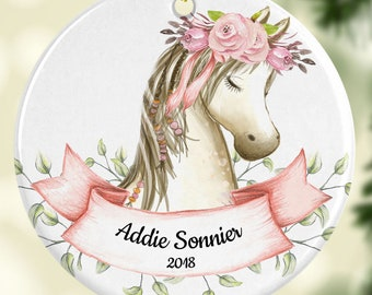 Christmas Horse Ornament Personalized