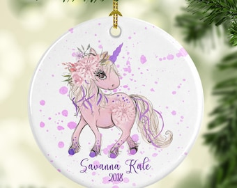 Pink and Purple Unicorn Ornament Personalized for Christmas