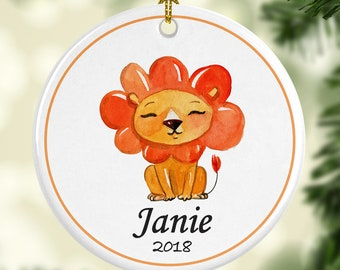Lion Ornament for Christmas - Personalized with Name and Year