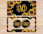 Sunflowers on Black Monogram License Plate, License Plate Frame Custom, Car Coasters, Personalized Front License Plate