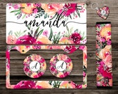 Spring Floral Monogrammed License Plate, License Plate Frame Custom, Car Coasters, Seat Belt Cover, Personalized Front License Plate