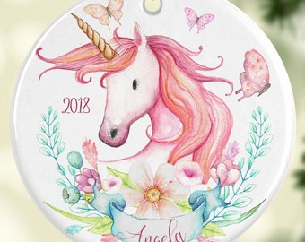 Christmas Unicorn Ornament Personalized