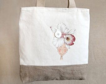 fb6f6654c Casual shoulder bag in hemp cream and natural jute. Handcrafted tote model,  hand-painted with cloth painting. Made in Italy
