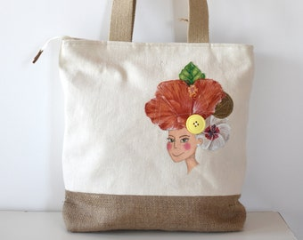 b9320d7e1 hemp bag from shoulder cream and painted jute. Handcrafted and  eco-sustainable Tote model, painting on fabric Made in Italy