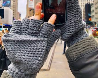 Manhattan Magic Mittens with Flip Top - Crochet Pattern * instant digital download pdf * easy fingerless gloves