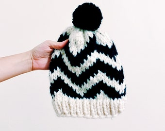 Chevron Street Hat Pattern * instant digital download pdf * Easy Knit Hat with bulky yarn