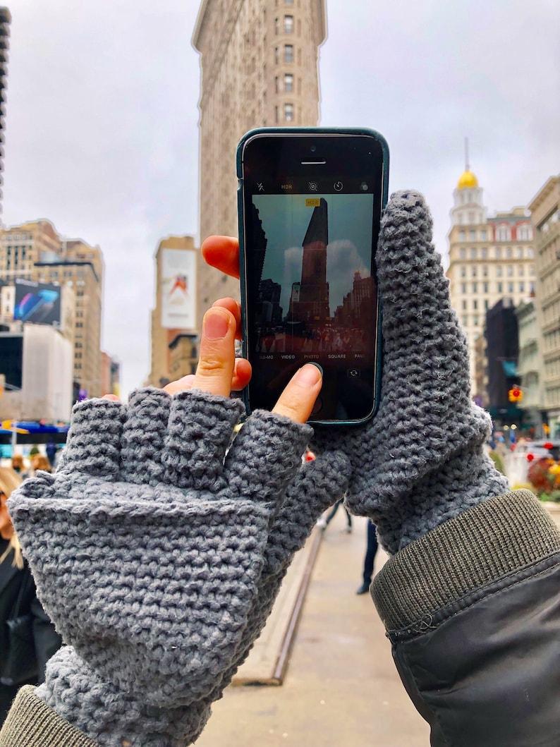 Manhattan Magic Mittens with Flip Top  Crochet Pattern  image 0