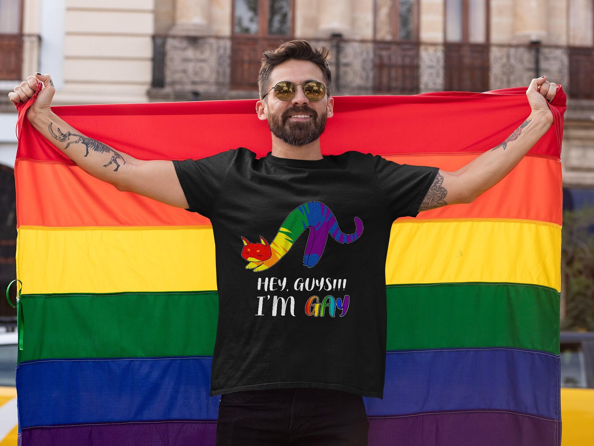 Hey Guy ich bin Homosexuell Shirt Katze LGBT Shirt Gay