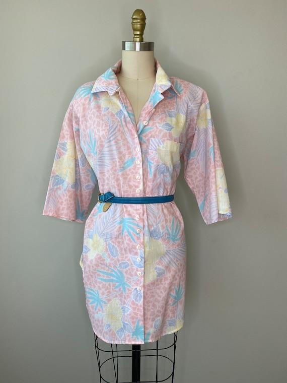 Vintage Palm Pink Button Down Blouse