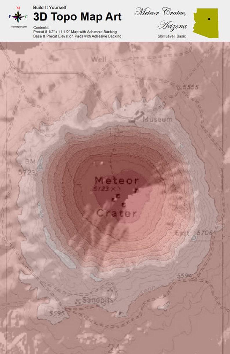 3d Map Of Arizona.3d Topo Map Art Kit Meteor Crater Arizona
