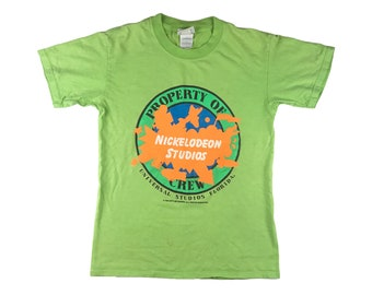3a719f1fa5557 Vintage Nickelodeon Studios Crew Member Shirt Slime Green Universal 90s  1990 Splat V3