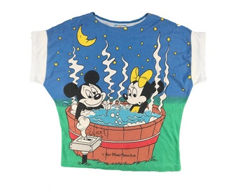 118d6fb4 Vintage Mickey Mouse Shirt Minnie Mouse All Over Print Hot Tub 80s Disney  Scoop Neck
