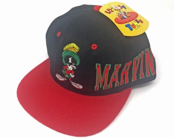 2534340f3dd Vintage Marvin the Martian Snapback Hat Spell Out Looney Tunes 90s  Deadstock 1993