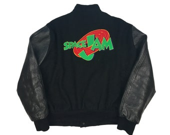 9b5fdb7ca051 Vintage Space Jam Jacket Animation Crew Leather 90s Jerry Leigh Wool Button  Up