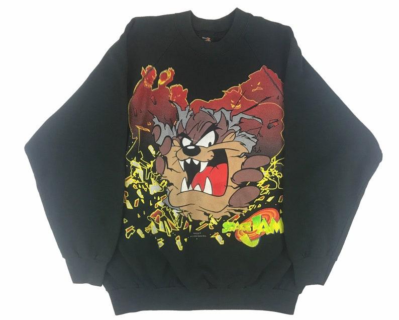 6ac1316dcabc Vintage Space Jam Taz Crewneck Sweatshirt 90s Looney Tunes