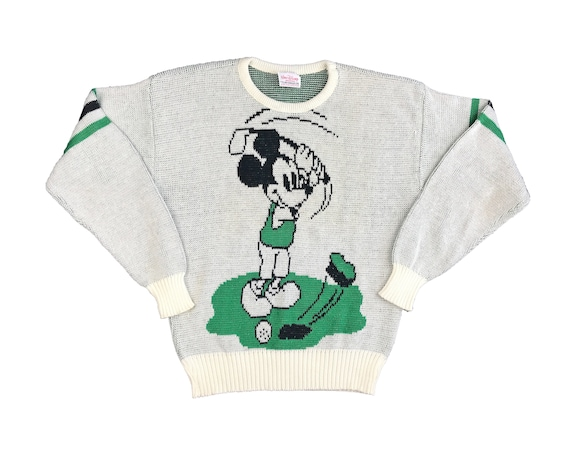 Vintage Mickey Mouse Sweater 80s Cliff Engle Golf