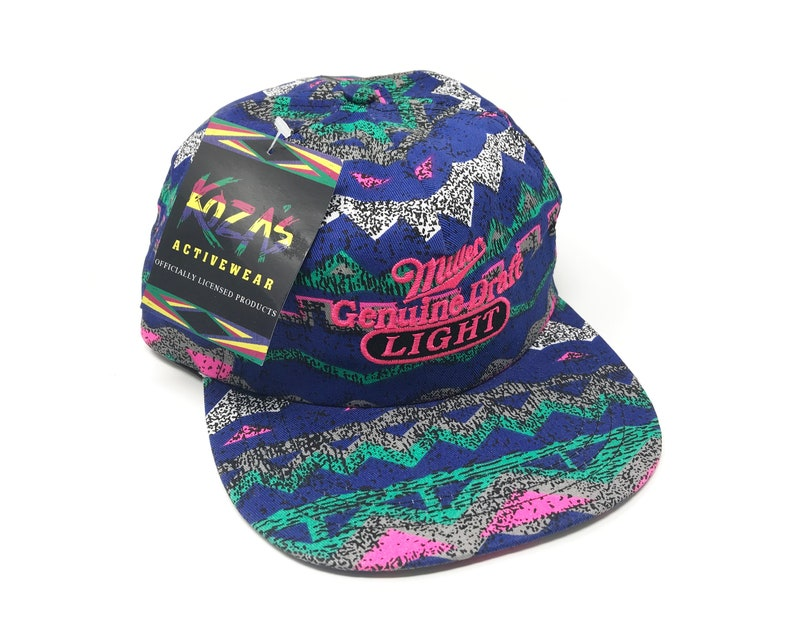 9e42a3b866500 Vintage Miller Light Hat Tribal Snapback All Over Print Genuine Draft Beer  Breweriana Deadstock 90s