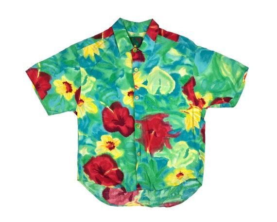 Vintage Jams World Floral Hawaiian Shirt Flowers A