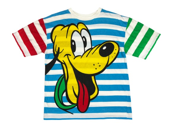 5d536 p 90s Disney Catalog Mickey Mouse Striped T-Shirt men/'s 2XL