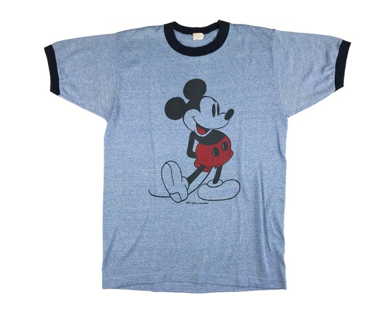 Vintage 70s Mickey Mouse Shirt Ringer T Disney V12