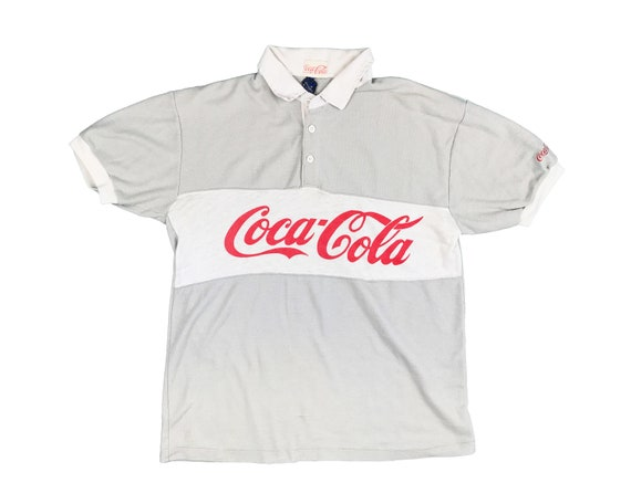 Vintage Coca Cola Rugby Polo Striped Shirt 80s Cok